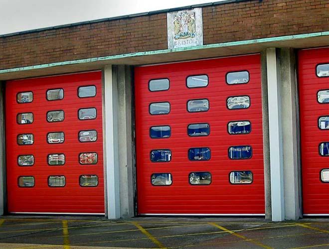 HAG S-Door overhead sectional industrial door at Keynsham Fire Station
